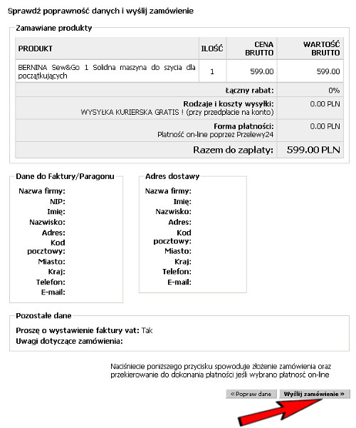 Podsumowanie zamówienia w Sklepie Internetowym GLOBAR.pl
