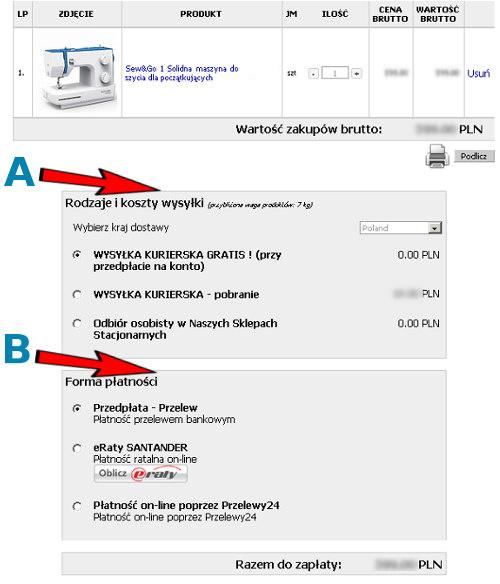 Wybór opcji dostawy w Sklepie Internetowym GLOBAR.pl