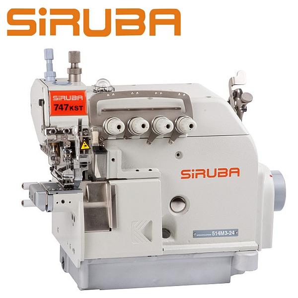 SIRUBA 747KST-514M3-24 Overlock 4 nitkowy, cylindryczne łoże, podwójny transport + silnik energooszczędny