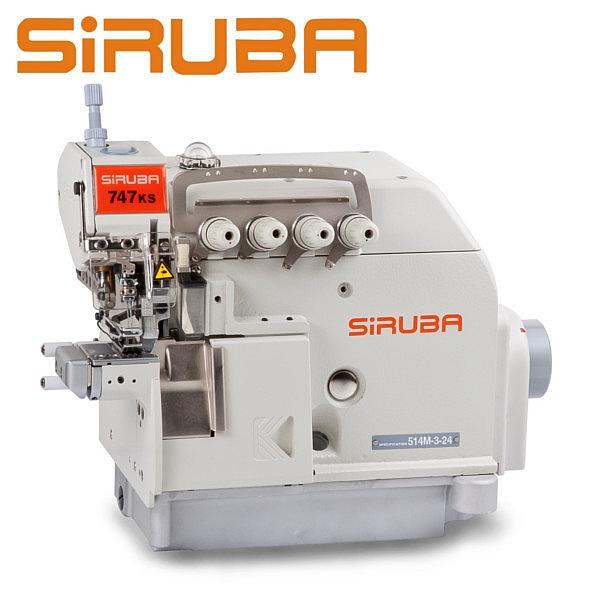 SIRUBA 747KS-514M3-24 Overlock 4 nitkowy, cylindryczne łoże + silnik energooszczędny